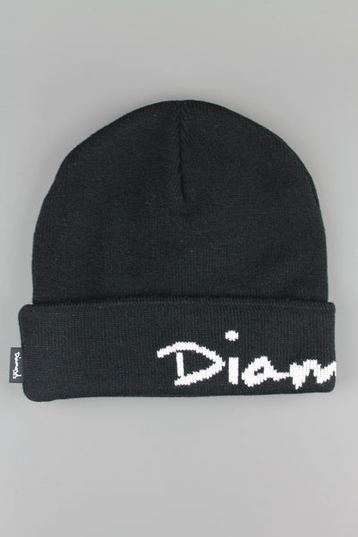 Diamond Supply Co OG Script Pom Beanie Hat Black - 4 Seasons Store