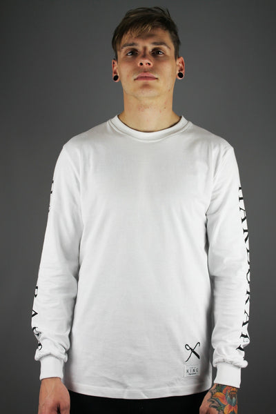King Apparel Hard Graft Long Sleeved T-Shirt White - 4 Seasons Store