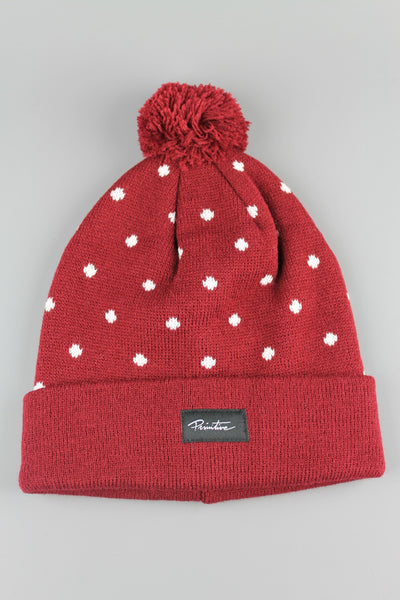 Primitive Apparel Dots Pom Beanie Hat Red - 4 Seasons Store