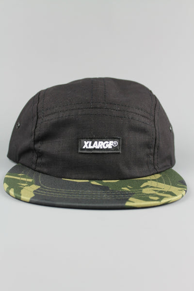 X-LARGE Clothing Camo 5 Panel Black And Camo Baseball Cap Hat - 4 Seasons Store