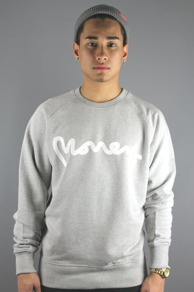 Money Clothing Raglan Signature Ape Crewneck Sweatshirt  Ecru Melange - J16317 - 4 Seasons Store