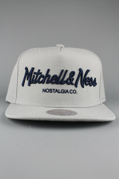 Mitchell & Ness EU336 Pinscript Snapback Grey Navy Baseball Cap Hat - 4 Seasons Store