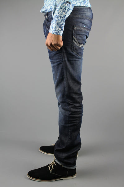 Duck & Cover DAC6B0027 Mens Rouren Slim Tapered Denim Jeans GRVJONO Blue - 4 Seasons Store