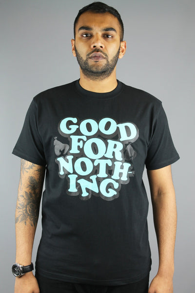 Money Clothing Mens Crew Neck Good For Nothing T Shirt Jet Black JT17708 - 4 Seasons Store