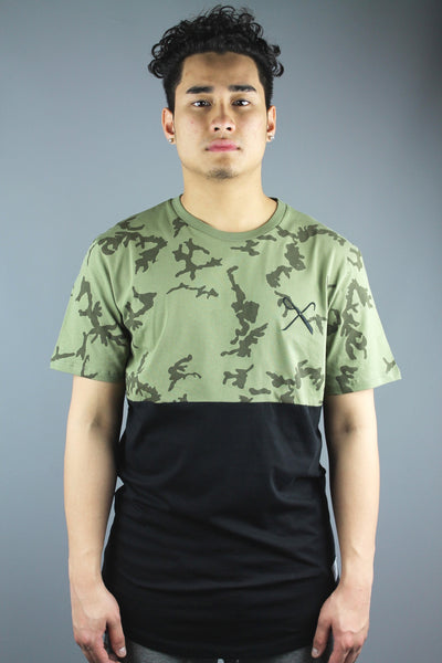 King Apparel SS15HGTC Mens Hard Graft Crew Neck T Shirt Camo Green Black - 4 Seasons Store
