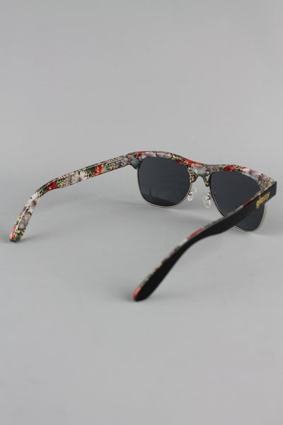 Glassy Sunhaters Shredder Black Floral Cheetah Frame Sunglasses