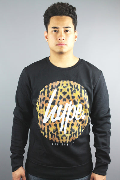 HYPE JUST HYPE Mens Black Cheetah Print Crew Neck Sweatshirt - 4 Seasons Store