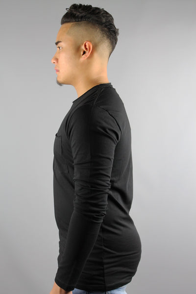 Lindbergh 30-48031 Mens O-Neck Long Sleeve Pocket Tshirt Black