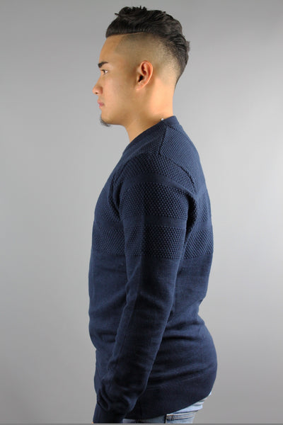 Lindbergh 30-81074 Mens Long Sleeve Slub Yarn Knit Jumper Navy Blue - 4 Seasons Store