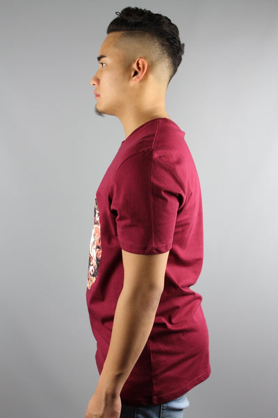 HYPE JUST HYPE Masterpiece Circle Crew Neck Short Sleeve T Shirt Burgundy Red - 4 Seasons Store