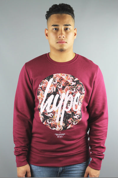 HYPE JUST HYPE Masterpiece Circle Crew Neck Long Sleeve Sweatshirt Burgundy Red - 4 Seasons Store