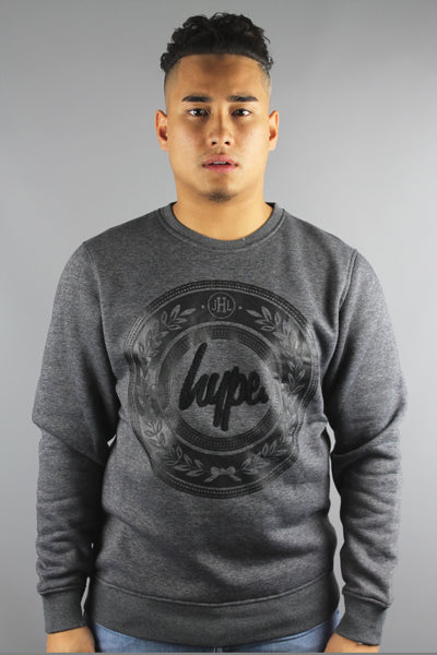 HYPE JUST HYPE Mens Chenille Crew Neck Long Sleeve Sweatshirt Dark Grey - 4 Seasons Store