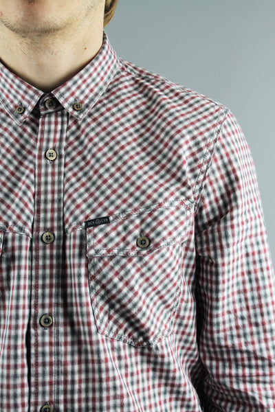 Duck & Cover DAC4C0044 Mens Sanderson Long Sleeve Gingham Check Shirt Oxblood - 4 Seasons Store