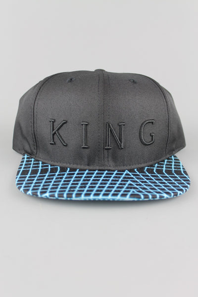 King Apparel Volt AW15-VCB 6 Panel Snapback Adjustable Cap Black Electric Blue - 4 Seasons Store