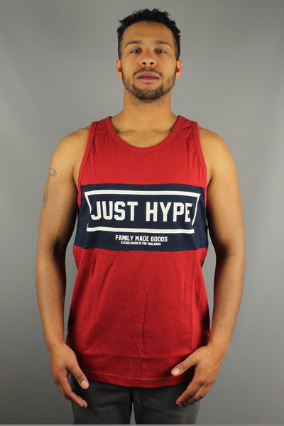 Hype Just Hype Sporting SS16CS81 Mens Sleeveless panel print Vest Burgundy Red - 4 Seasons Store