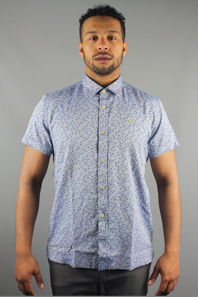 Duck & Cover DAC4F0046 Greenwood Short Sleeve Flying Ducks Shirt Petrol Blue - 4 Seasons Store