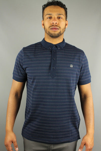 Duck & Cover DAC5H0063 Hyphen Mens  Birdseye Stripe Polo Shirt French Navy Blue - 4 Seasons Store