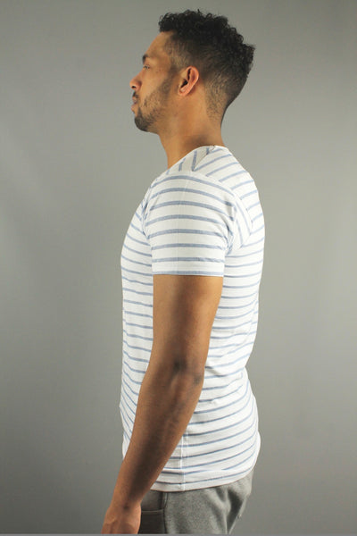 Lindbergh 30-48045 Mens Striped Short Sleeve T Shirt Blue
