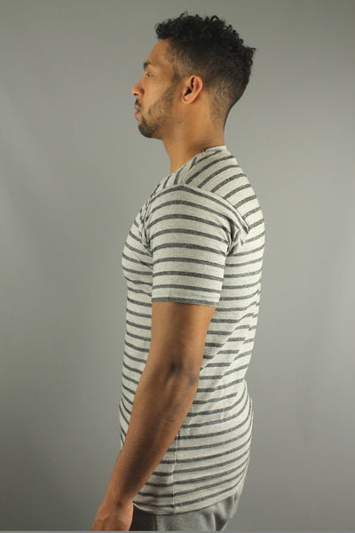 Lindbergh 30-48045 Mens Striped Short Sleeve T Shirt Grey Mix - 4 Seasons Store