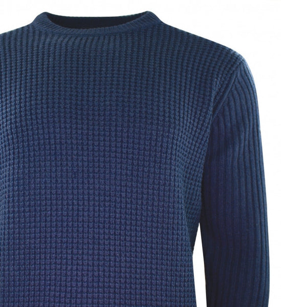 Duck & Cover DAC2B0058 OBAN MEN'S Crew Neck Textured Knit Jumper Deep Navy Blue
