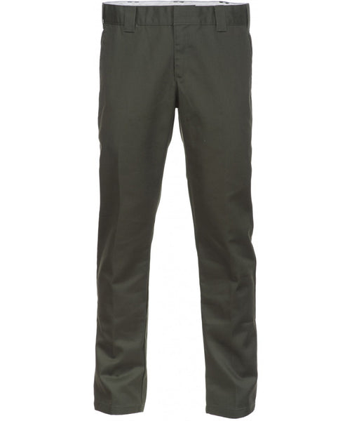 Dickies WE872 Mens Slim Fit Tapered Work Pants Olive Green Trousers Chinos