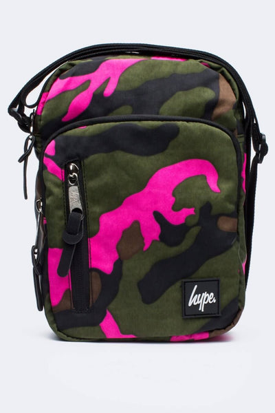 HYPE JUST HYPE SS1731003 VIDA CAMO GREEN ROADMAN MESSENGER/SHOULDER BAG