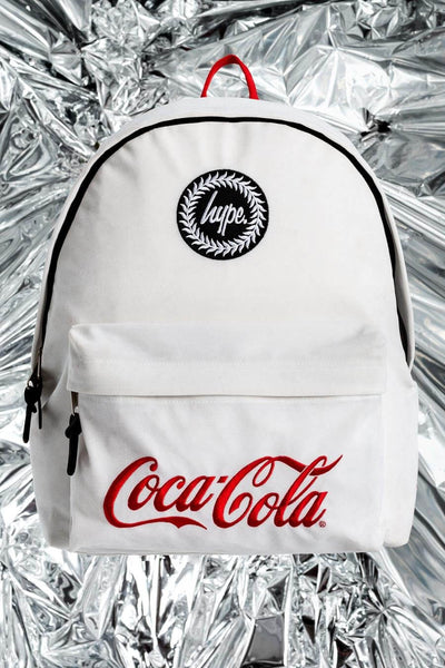 HYPE JUST HYPE White Coca Cola Cooler Backpack Rucksack Bags  X Coca Cola Backpack School Bags HYXCOKE20