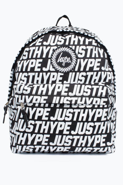 HYPE JUST HYPE Backpack Rucksack Bags Sporting Justhype Black White Backpack School Bag BTS17017