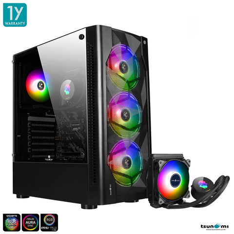 Tsunami Coolman 190-2 KK(Liquid Combo) Triple Ring ARGB*3/CM-120 Tempered ATX Cooling Case