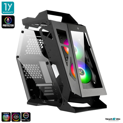 Tsunami Protector Hagrid KK (Protector Sound Sync) Tempered Glass M-ATX Mutant Gaming Computer Case with Ablaze+ (Aura)*2