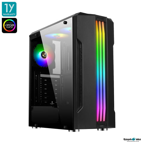 Tsunami Galaxy G16 (cRGB) Tempered Glass ATX Gaming Case Ablaze*3