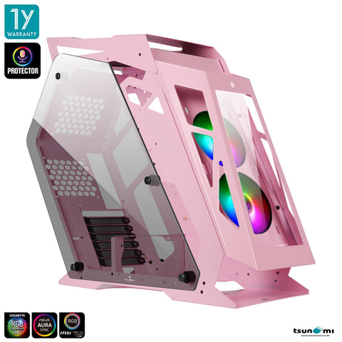 Tsunami Protector Goliath PNK (Protector Sound Sync) Tempered Glass ATX Mutant Gaming Computer Case with Ablaze+ (Aura)*2