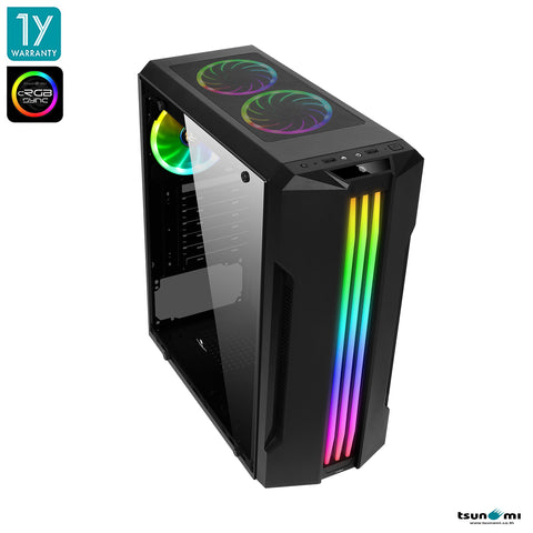 Tsunami Galaxy G16 (cRGB) Tempered Glass ATX Gaming Case Dual Ring+*3