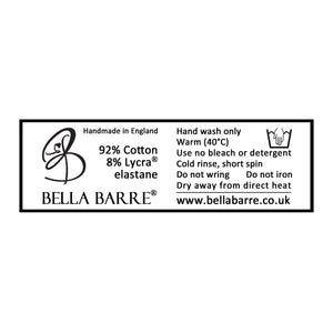 Cotton Lycra Washing Label for Bella Barre's Adult Ballet, Dance & Fitness Wear