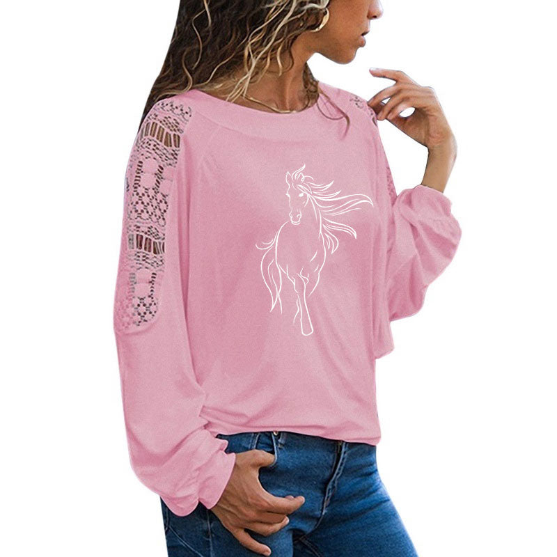 Adorable Long Sleeve Horse Girl Shirt