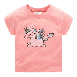 Baby Girls Cartoon Horse Rabbit Animal Tees
