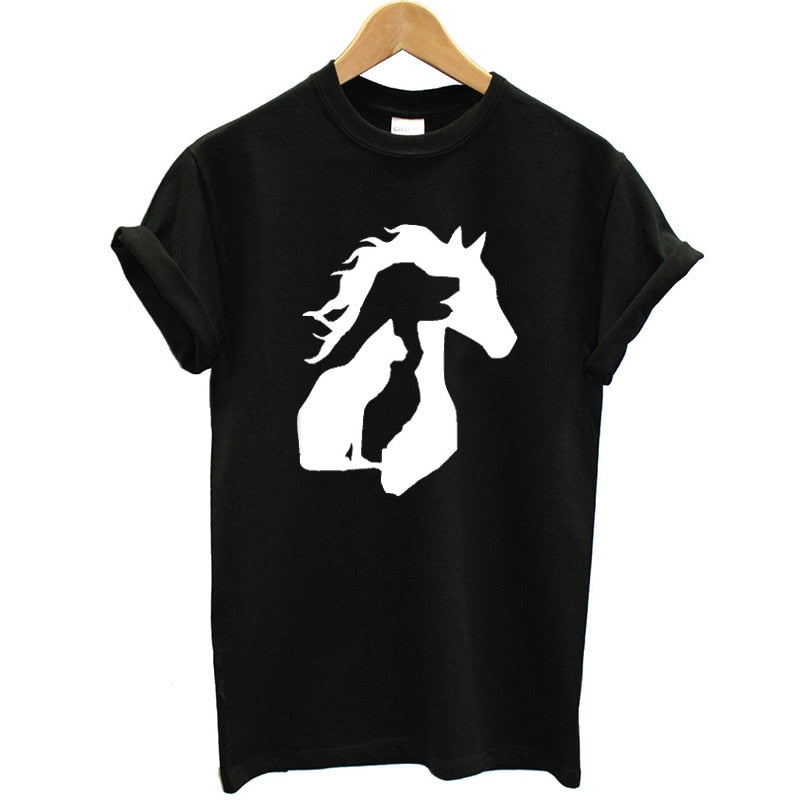 Cat Dog Horse Printed Tee