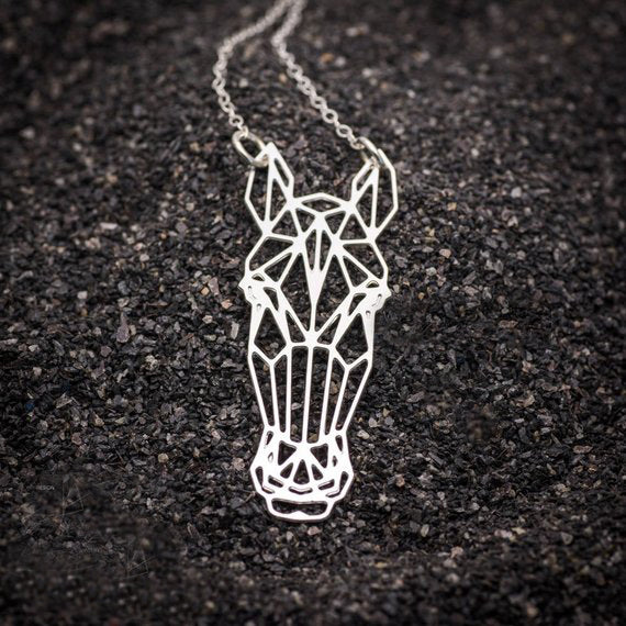 Origami Horse Charm Necklace