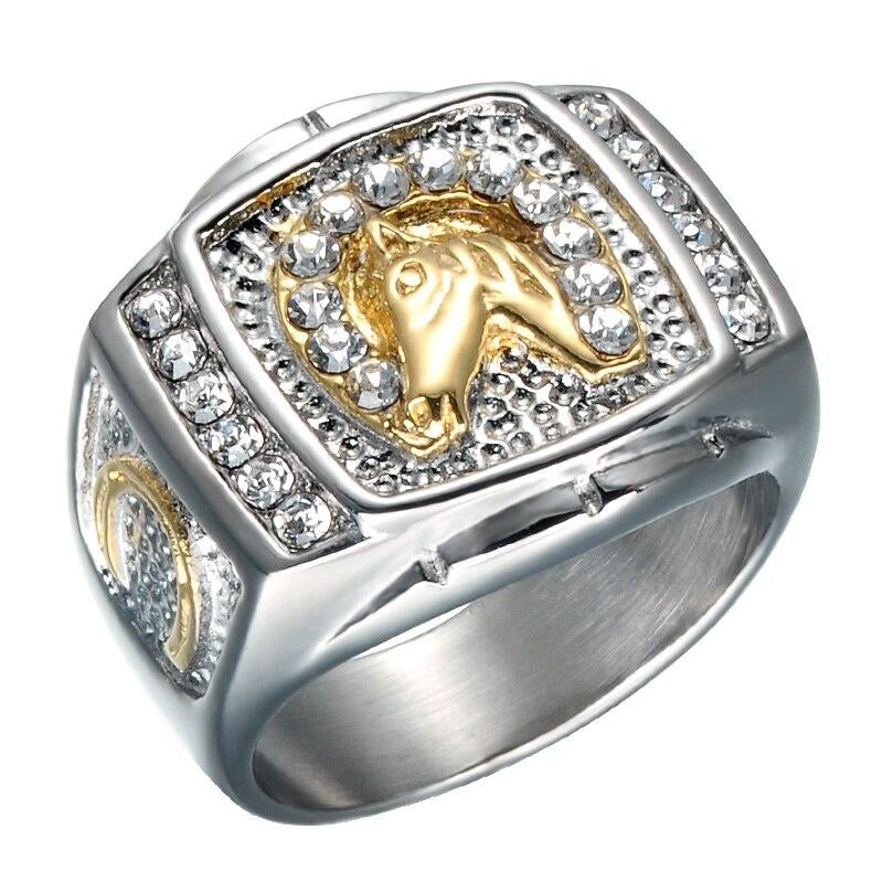 Iced Out Titanium Horse Ring