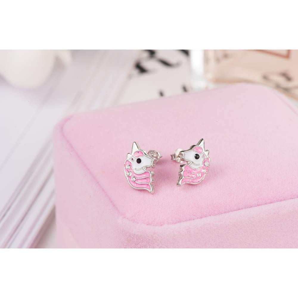 Cute Pink Unicorn Glitter Earrings