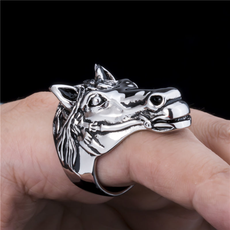 Casual Steel Horse Head Ring