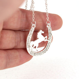 Running Horse and Horseshoe Necklace