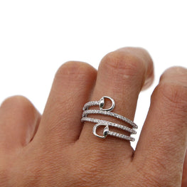 Platinum Multi Wrap Snaffle Ring