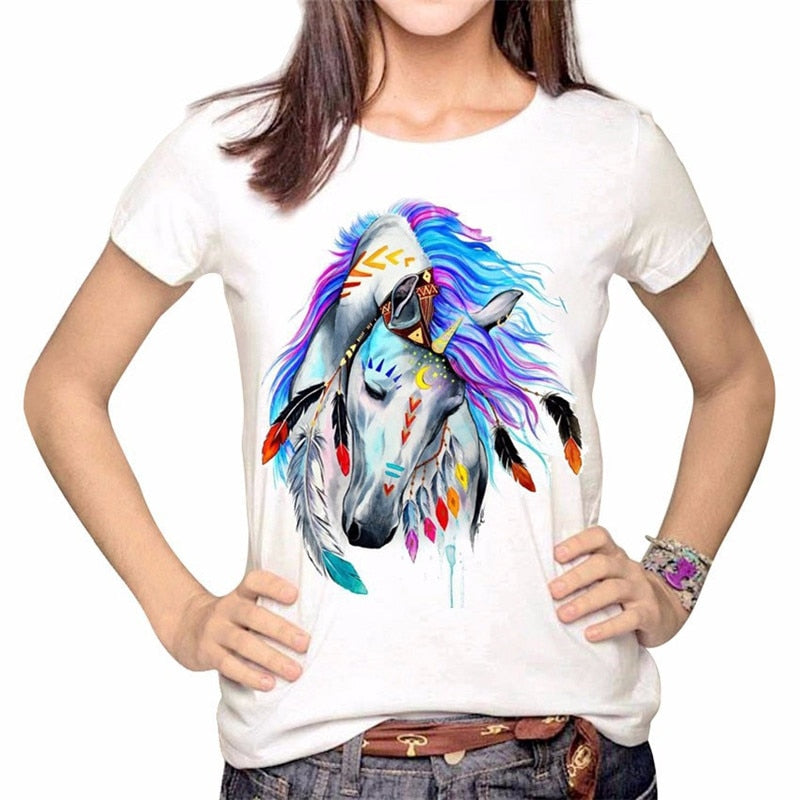 Colorful Horse Head T Shirt