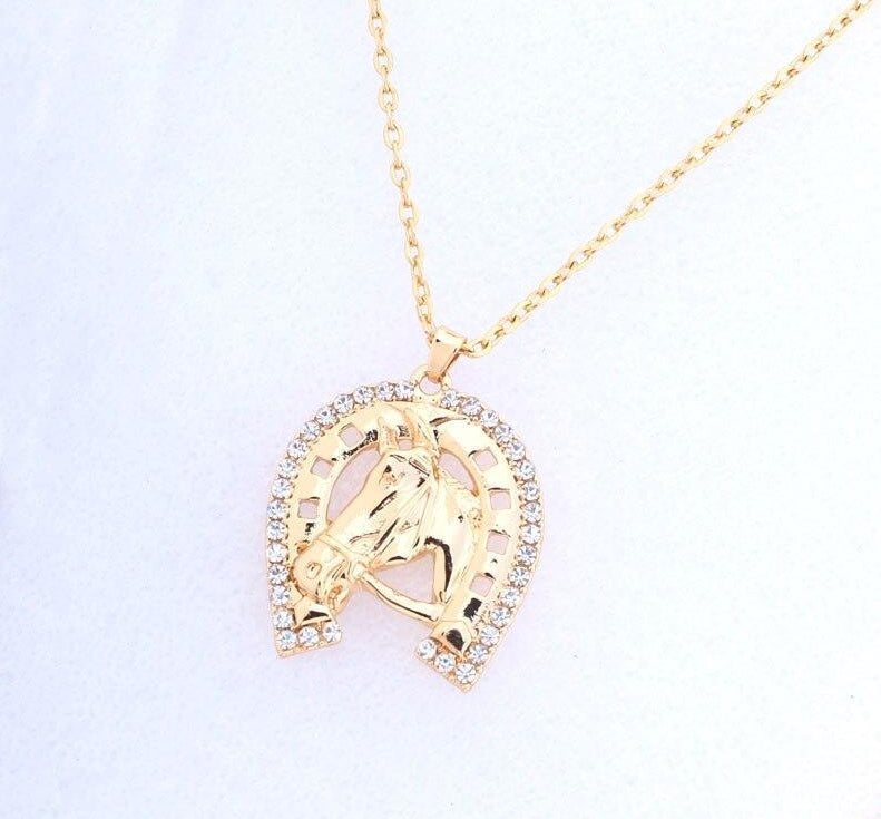Crystal Horse Head and Hoof Necklace