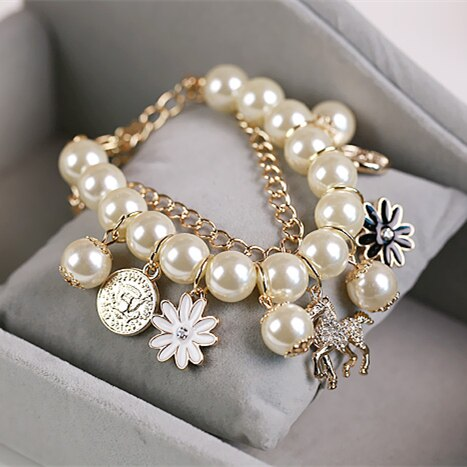 Crystal and Pearl Horse Bracelet