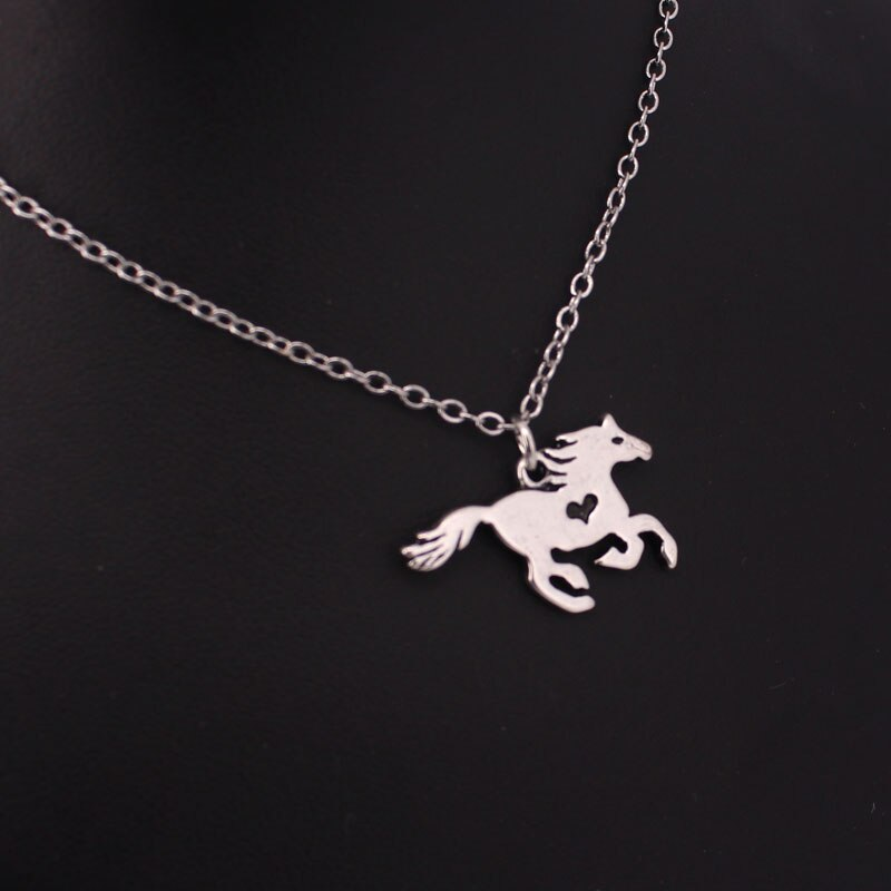 Cute Little Horse Heart Pendant Necklace