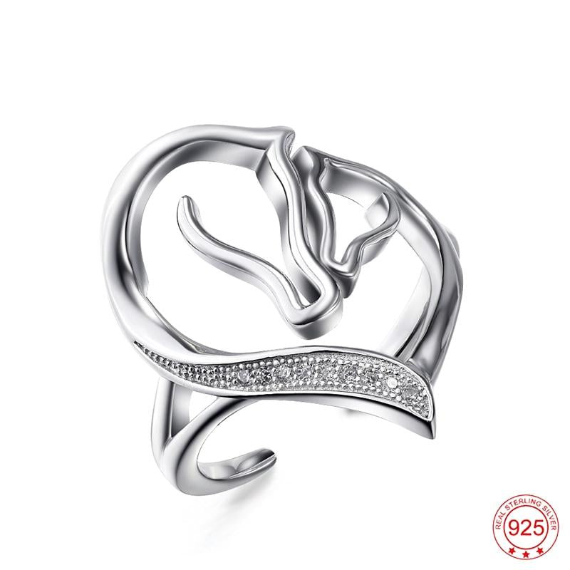 Sterling Silver Horse Love Ring