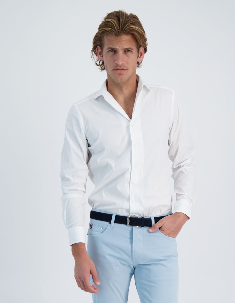 LAPO LUXURY STRETCH POPLIN SOLID ONE PIECE SPREAD COLLAR SHIRT
