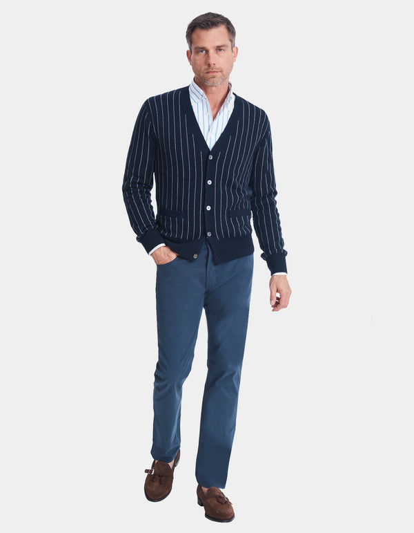 FINE GAUGE DOUBLE FACED MERINO CHALK STRIPE CARDIGAN